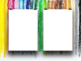 Two blank frames hanged by clips against multicolored pastel illustration art background
