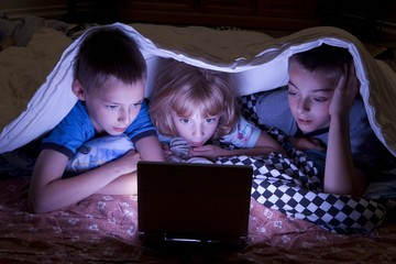 Children Watching At Night