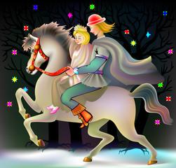 Prince and princess riding on horse, vector cartoon image.