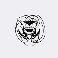 Logo, symbol, sign, stencil boar head.Unique technique Vintage hand drawn style
