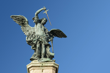 Saint Michael statue at top of Castel Sant Angelo in Rome