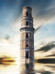 Mysterious tower. 3d rendering
