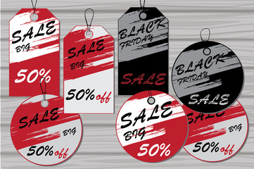 illustration of Sale tags, Labels for discount. Black friday tag
