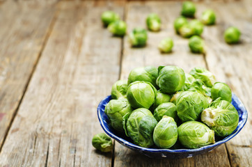 Brussels sprouts in a wooden bowl