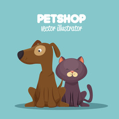 veterinary pet shop cat and dog sitting graphic vector illustration eps 10