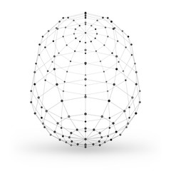 Abstract wireframe polygonal geometric element with connected lines and dots. Vector Illustration on white background with shade