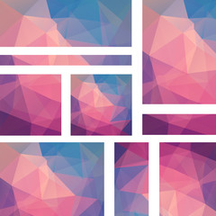 Vector banners set with polygonal abstract pink, blue triangles. Abstract polygonal low poly banners.