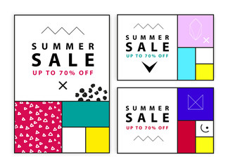 Summer sale banners. Memphis and mondrian style. Vector illustration. Simple forms. The golden section