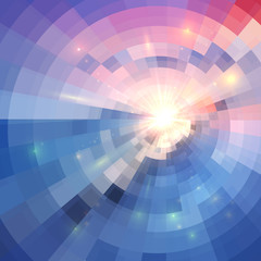 Blue and pink colors concentric shining mosaic abstract background