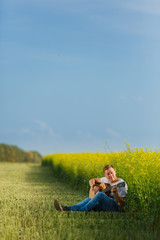 traveler, romantic travel background, young son leaving home