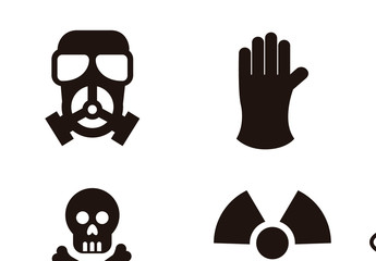 9 Black and White Biohazard and Nuclear Icons