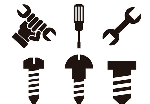 12 Black and White Tool and Hardware Icons