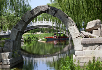 Canqiao Ruined Bridge Yuanming Yuan Old Summer Palace Willows Be