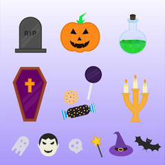 Creative flat halloween icons set vector design