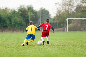 Two youth soccer players fighting for the ball