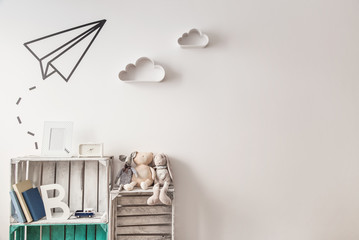 Children room ideas with copy space. Vintage style.