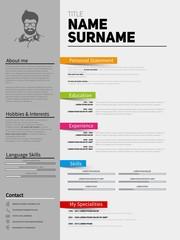 Resume Minimalist CV, Template with simple design, company appli