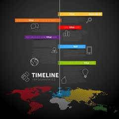 Infographic timeline report template with icons, labels and worl