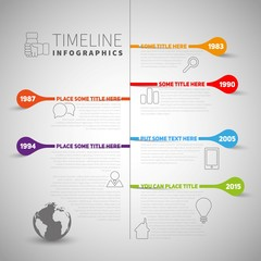 Infographic timeline report template with icons and labels, Worl