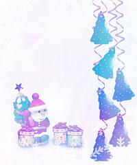 Christmas card. Santa Claus and gifts.