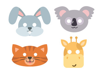 Animals carnival mask vector icon