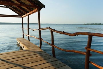 Small wooden pier on the lake.
