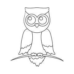 Owl icon outline. Singe animal icon from the big animals outline stock vector