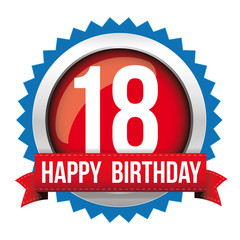 Eighteen years happy birthday badge ribbon