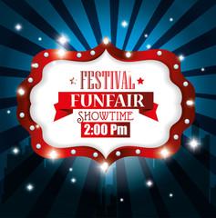 poster festival funfair light background vector illustration eps 10