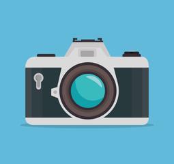 photocamera blue background design, vector illustration graphic