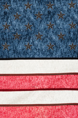 Series of cotton national flags against sun - USA