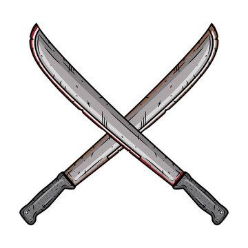 Cartoon machete. Two crossed machetes.
