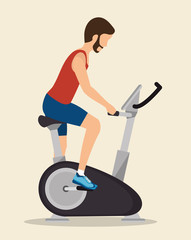 man exercises static bike icon vector illustration eps 10