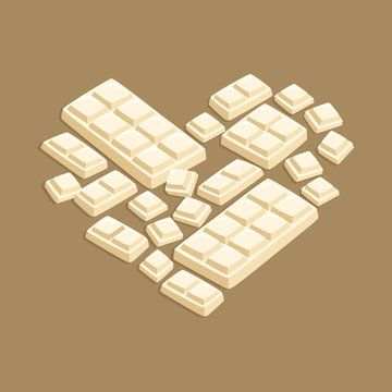 Vector illustration of white chocolate bar pieces forming valentine heart shape on dark brown background.