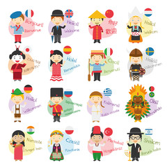 search photos idioms vector illustration of cartoon characters saying hello and welcome in 16 different languages