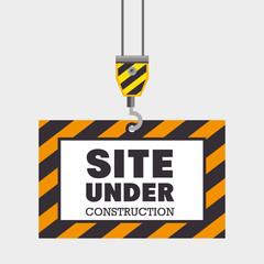 hook holding site under construction concept vector illustration eps 10