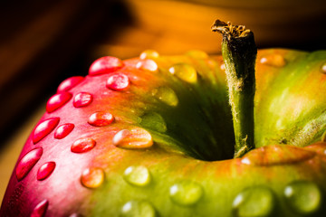 Close up of Fresh Juicy Apple with Stem
