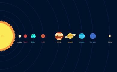 Solar system flat design vector illustration