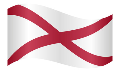 Flag of Alabama waving on white background