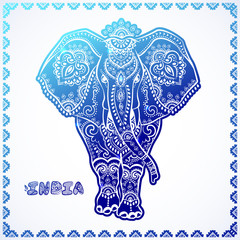 Vintage graphic vector Indian lotus ethnic elephant. African tri