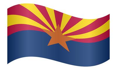 Flag of Arizona waving on white background