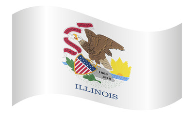 Flag of Illinois waving on white background