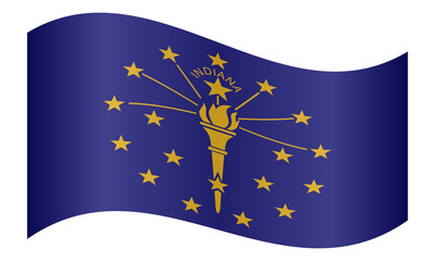 Flag of Indiana waving on white background