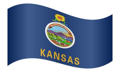 Flag of Kansas waving on white background