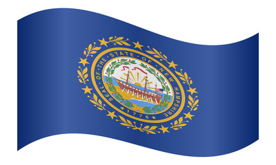 Flag of New Hampshire waving on white background