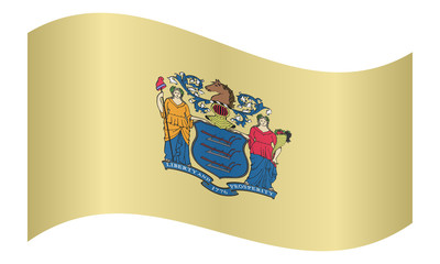 Flag of New Jersey waving on white background