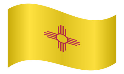 Flag of New Mexico waving on white background