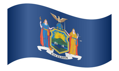 Flag of New York state waving on white background