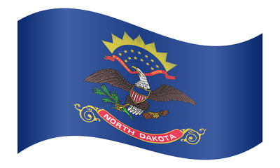 Flag of North Dakota waving on white background