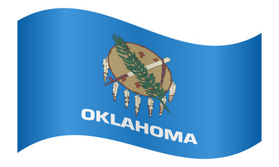 Flag of Oklahoma waving on white background